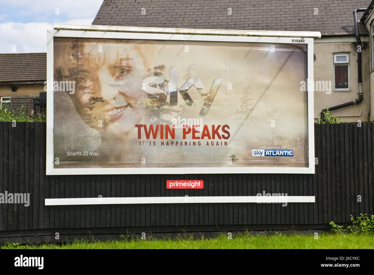 Sky Atlantic 48 sheet advertising billboard on Primesight site in Newport, South Wales, UK - Stock Image