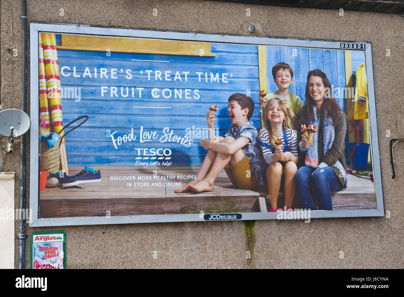 Tesco 48 sheet advertising billboard on JCDecaux site in Newport, South Wales, UK - Stock Image