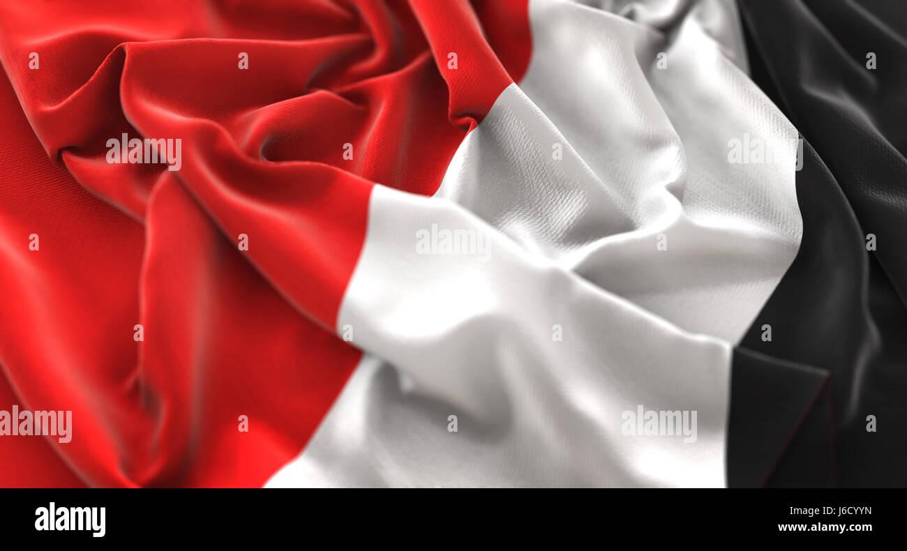 Principality of Sealand Flag Ruffled Beautifully Waving Macro Close-Up Shot - Stock Image