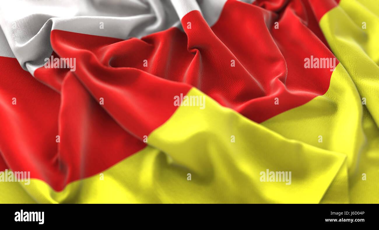 South Ossetia Flag Ruffled Beautifully Waving Macro Close-Up Shot - Stock Image