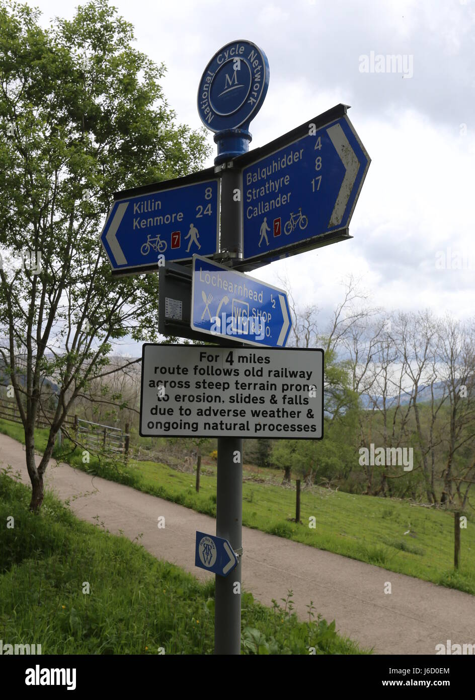 Sign on National Cycle Route 7 and Rob Roy Way near Glen Ogle Scotland  May 2017 Stock Photo
