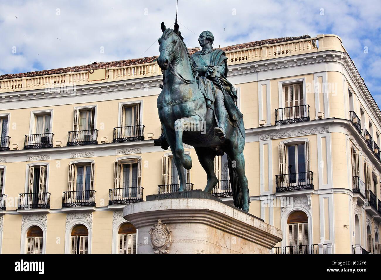 koenig carlos iii - puerta del sol - Stock Image