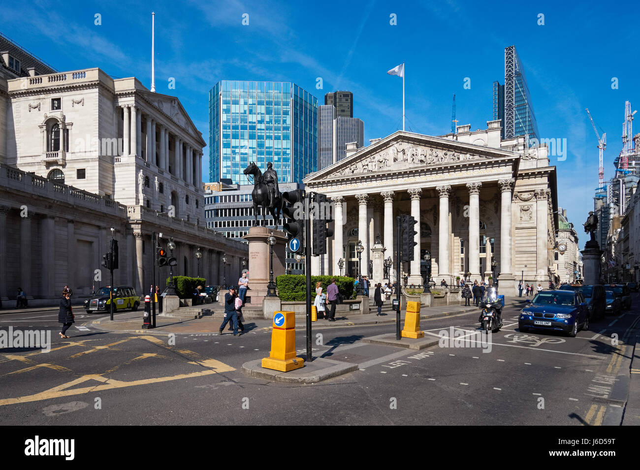 Bank junction with the Bank of England and the Royal Exchange buildings in London, England United Kingdom UK - Stock Image