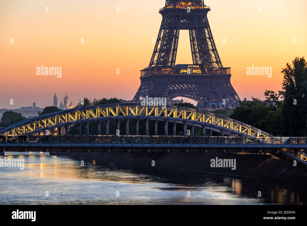Paris Sunrise with the Eiffel Tower, Rouelle Bridge and the Seine River. France Stock Photo