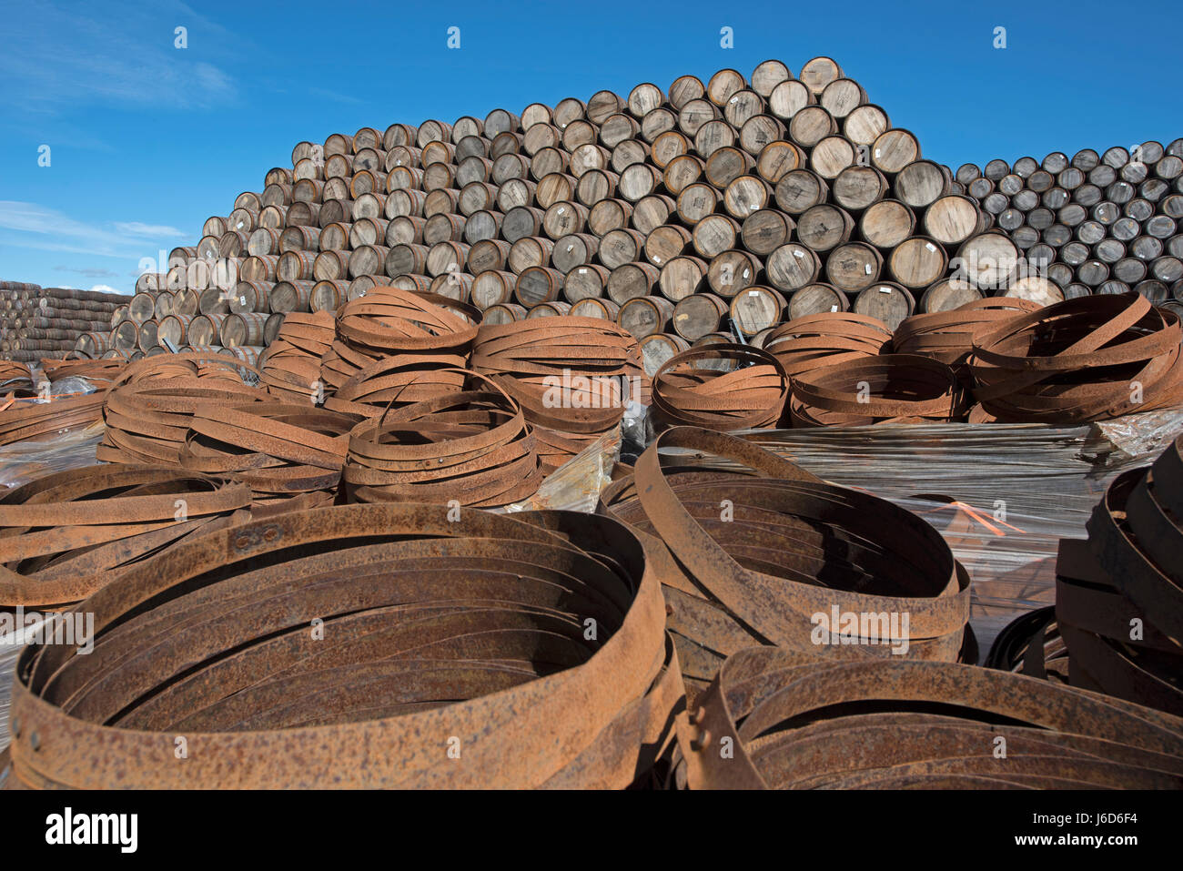The Craigellachie cooperage in Speyside the largest cask makers in the UK. - Stock Image