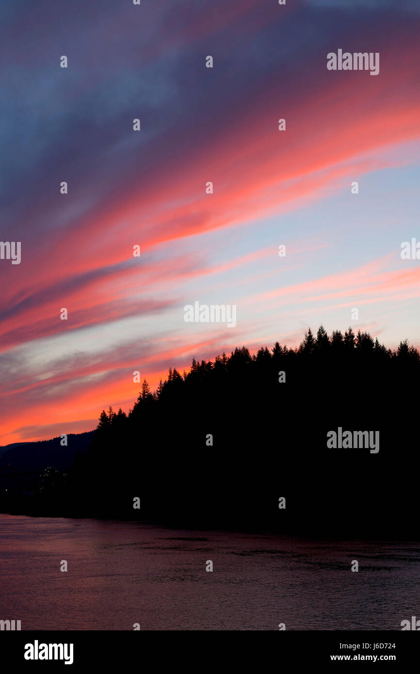 Sunset at Eagle Creek Overlook, Columbia River Gorge National Scenic Area, Oregon Stock Photo