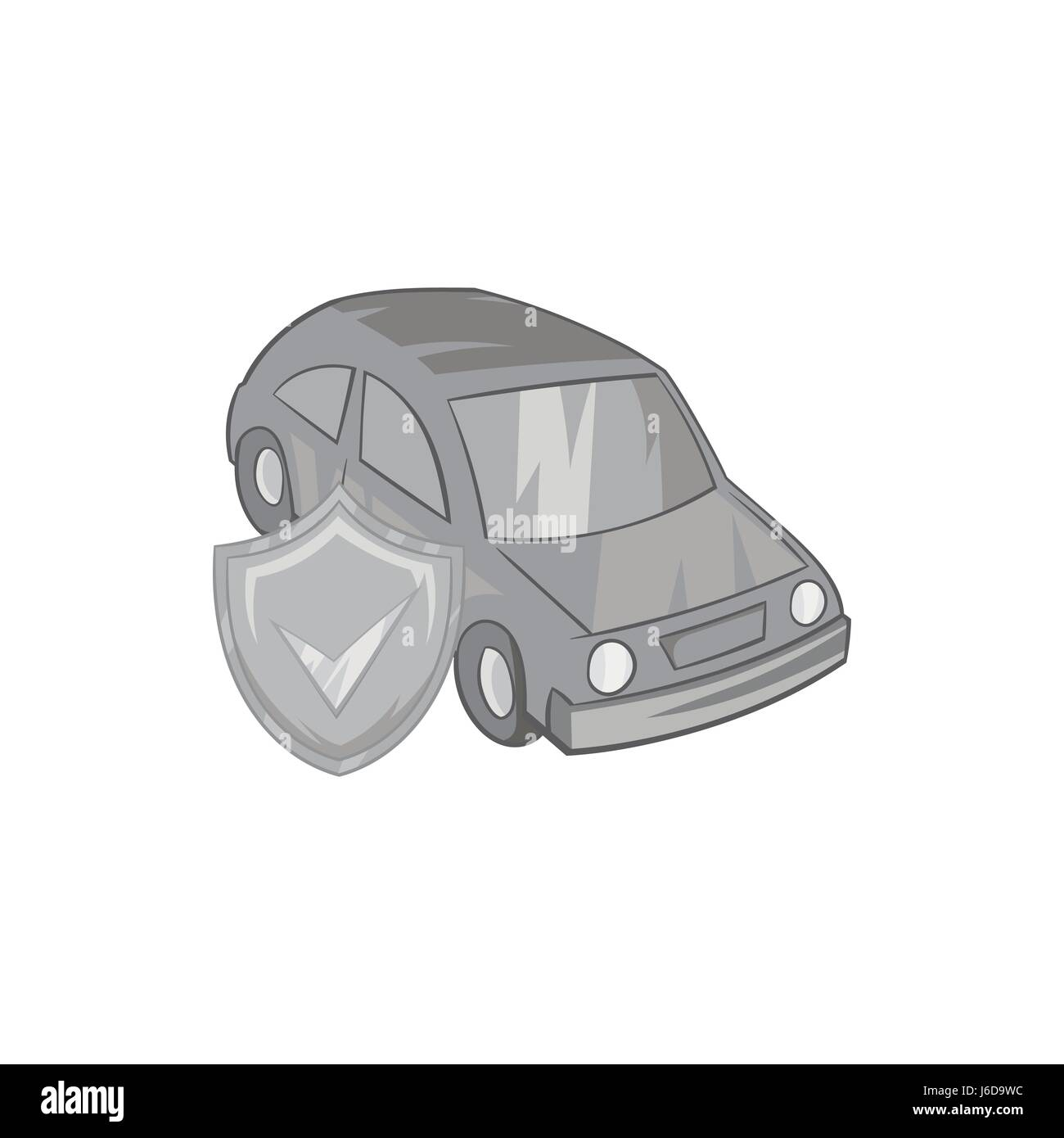Car insurance icon, black monochrome style Stock Vector