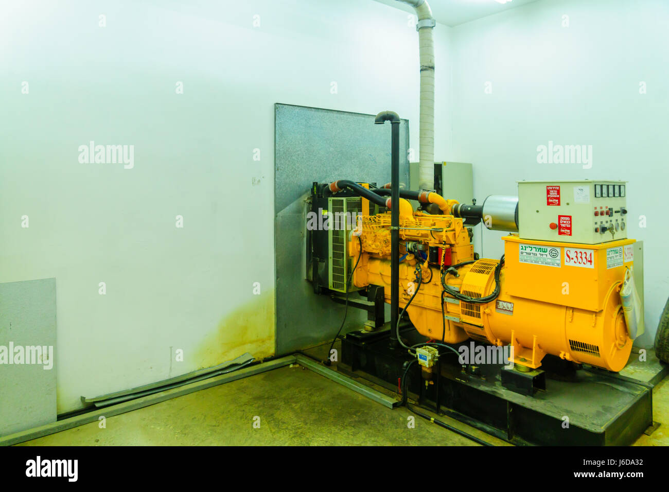 TEL-AVIV, ISRAEL - MAY 18, 2017: A backup generator, part of a pumping station that provide proper water pressure, - Stock Image