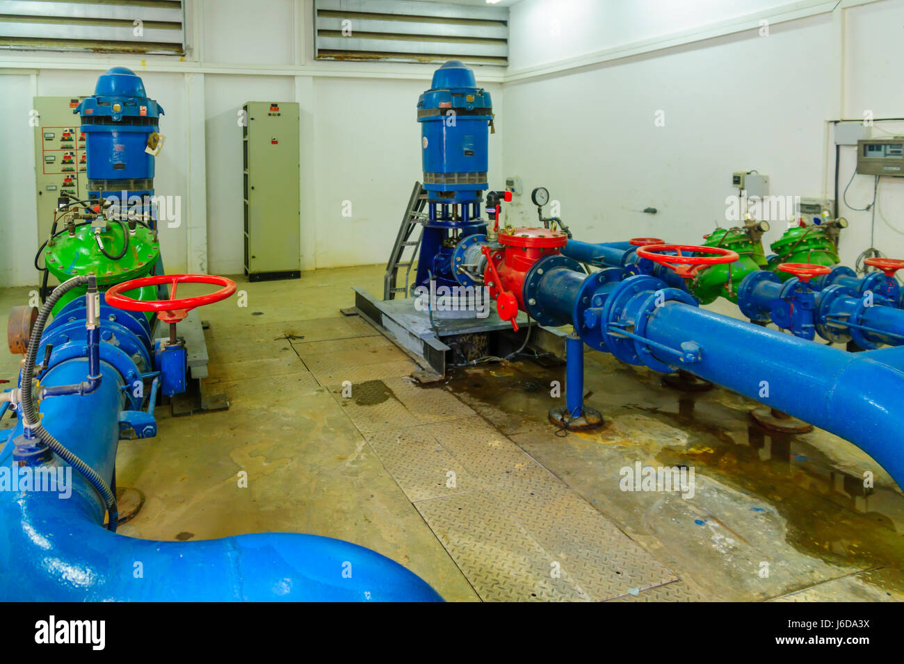 TEL-AVIV, ISRAEL - MAY 18, 2017: A pumping station that provide proper water pressure, part of the water system - Stock Image
