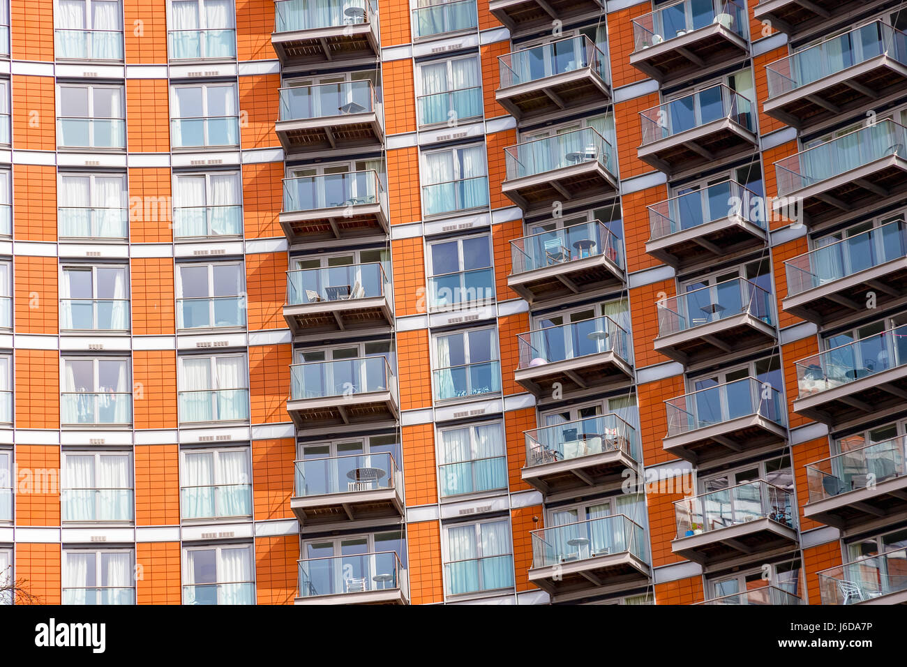 Windows of modern flats in London - Stock Image