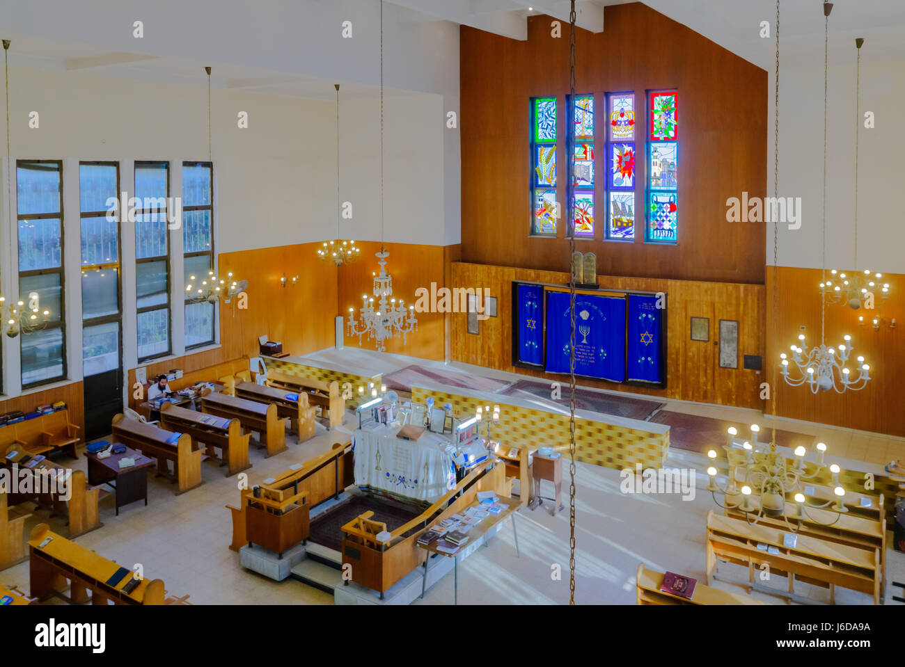 TEL-AVIV, ISRAEL - MAY 18, 2017: The Kol Yehuda Synagogue of the Aden Jewish community, with a prayer, in Tel-Aviv, - Stock Image