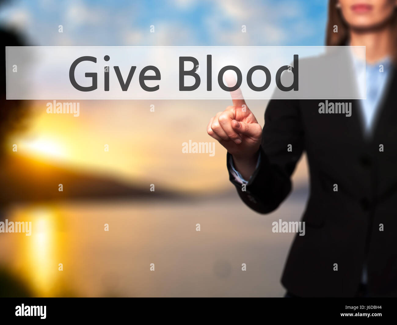 Give Blood - Businesswoman hand pressing button on touch screen interface. Business, technology, internet concept. - Stock Image