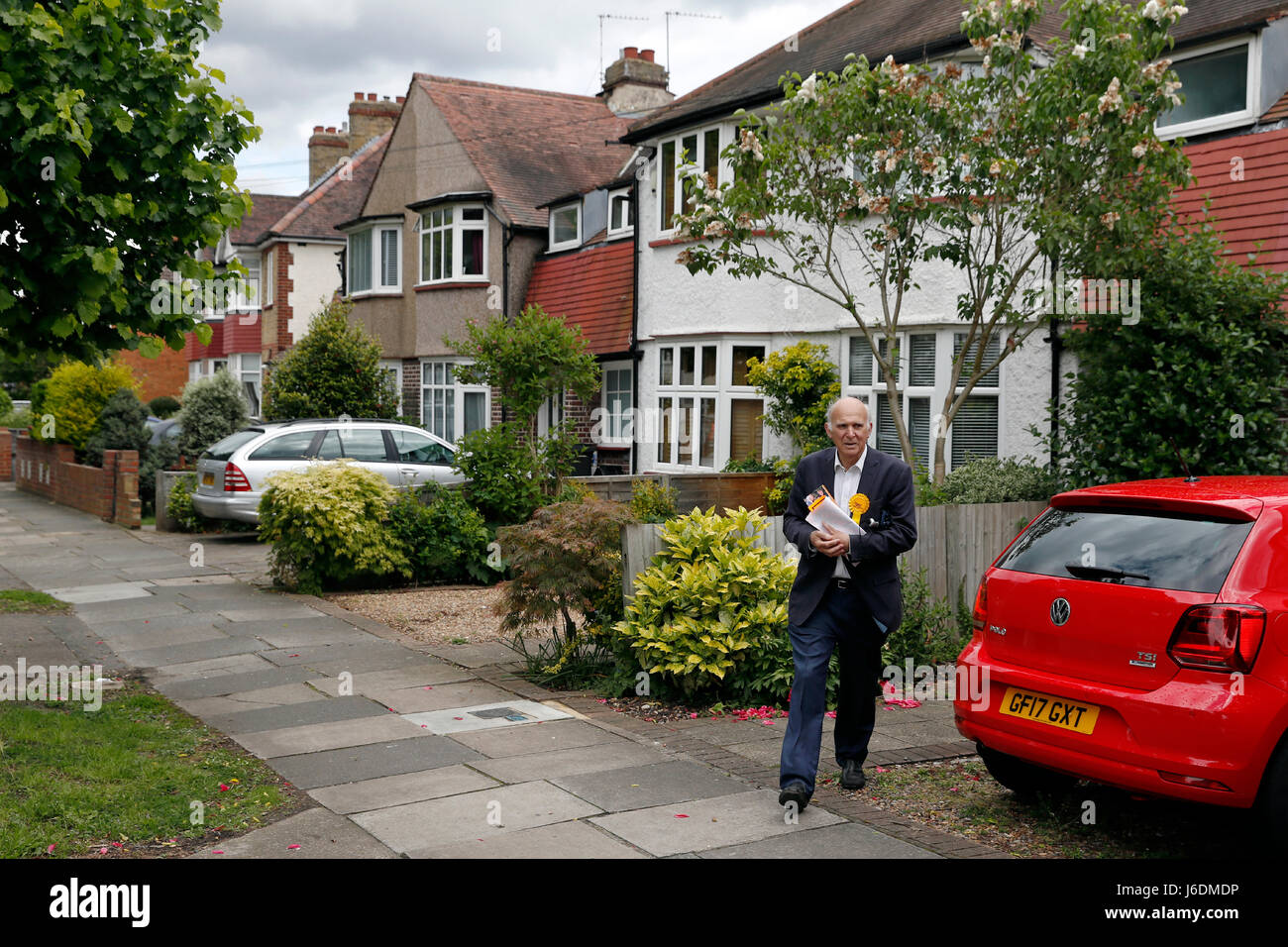 Liberal Democrat candidate Vince Cable out campaigning in Twickenham ahead of Britain's upcoming General Election Stock Photo