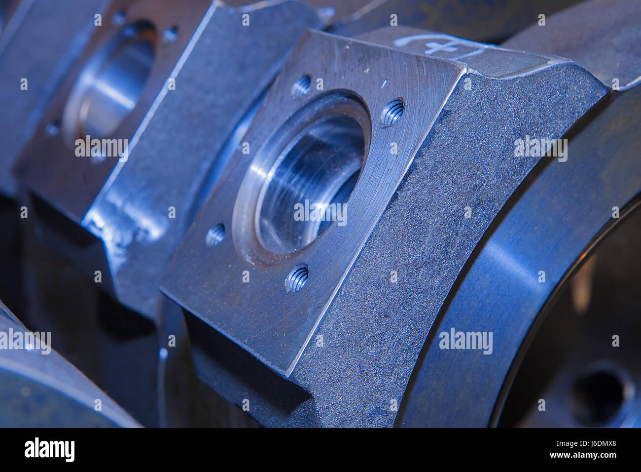 Industrial background from circle metalic  parts after machining - Stock Image