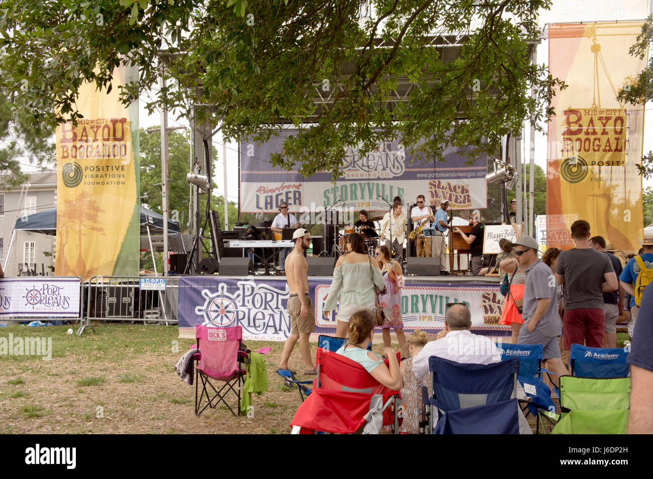 Spectators enjoying music at the annual Bayou Boogaloo festival.  New Orleans, LA. - Stock Image