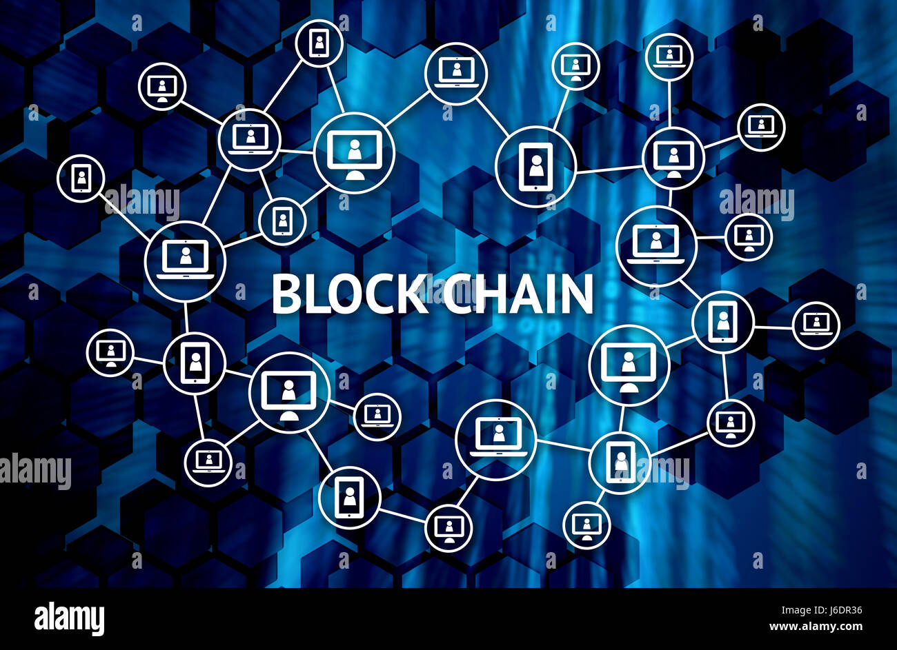 Blockchain network concept , Distributed ledger technology , Block