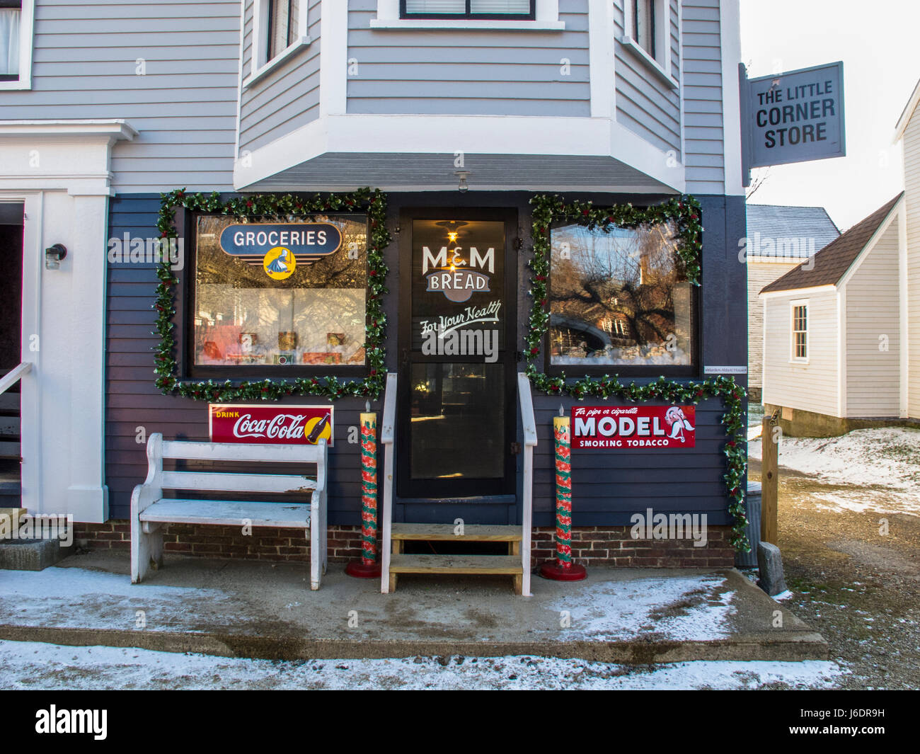 The Little Corner Store in Strawbery Banke in Portsmouth, New Hampshire - Stock Image