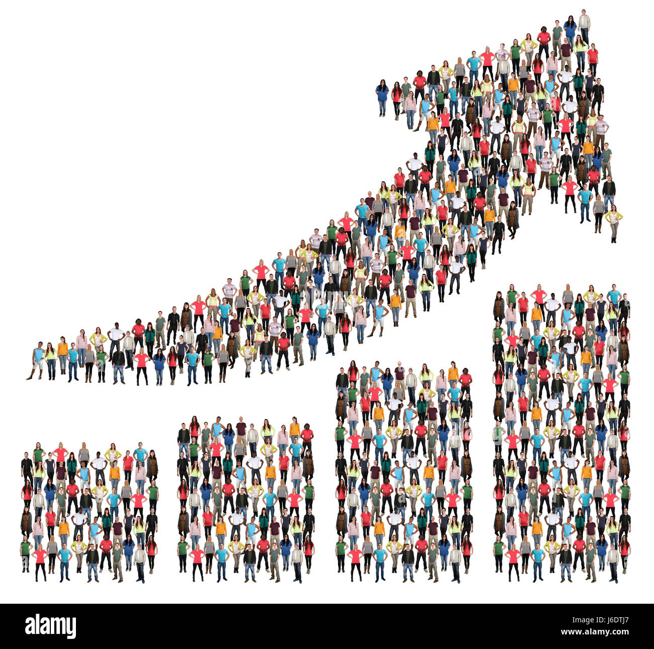 Group of people success business profit growth marketing chart arrow sales growing - Stock Image