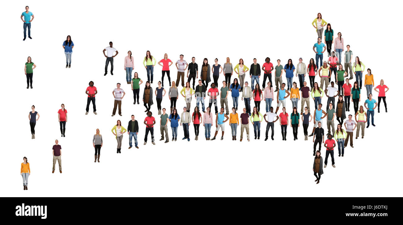 Group of people direction arrow success marketing team teamwork organization multicultural isolated - Stock Image