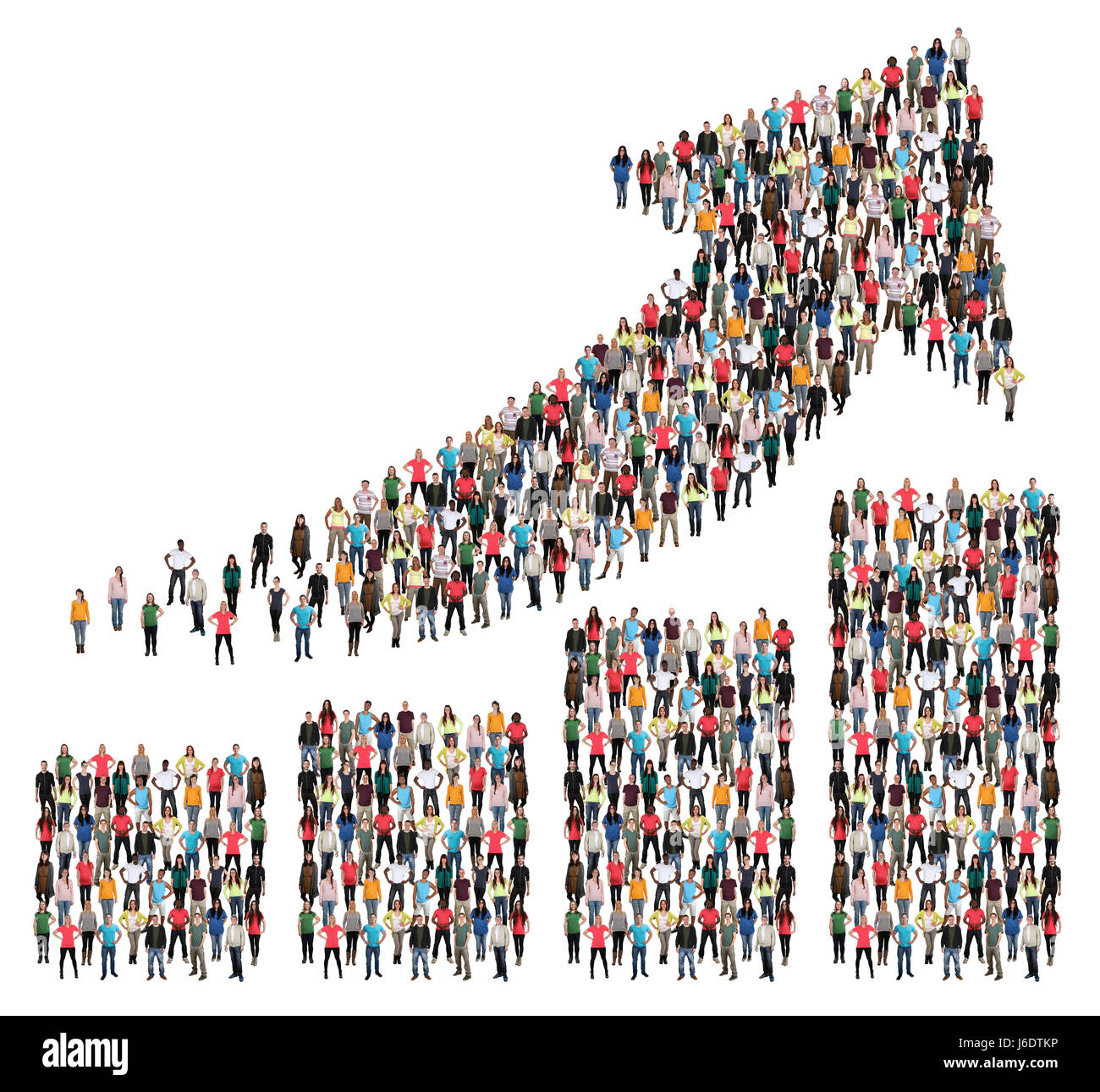 Group of people success business profit growth chart arrow sales growing - Stock Image