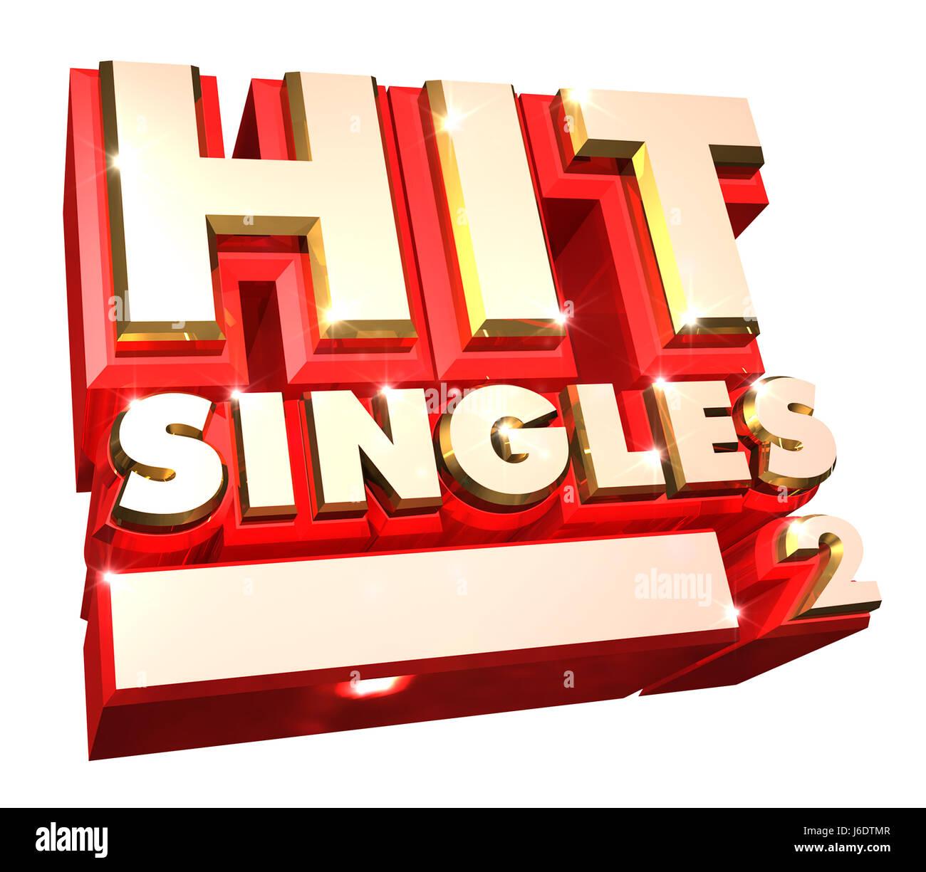 3d hit singles logo Stock Photo