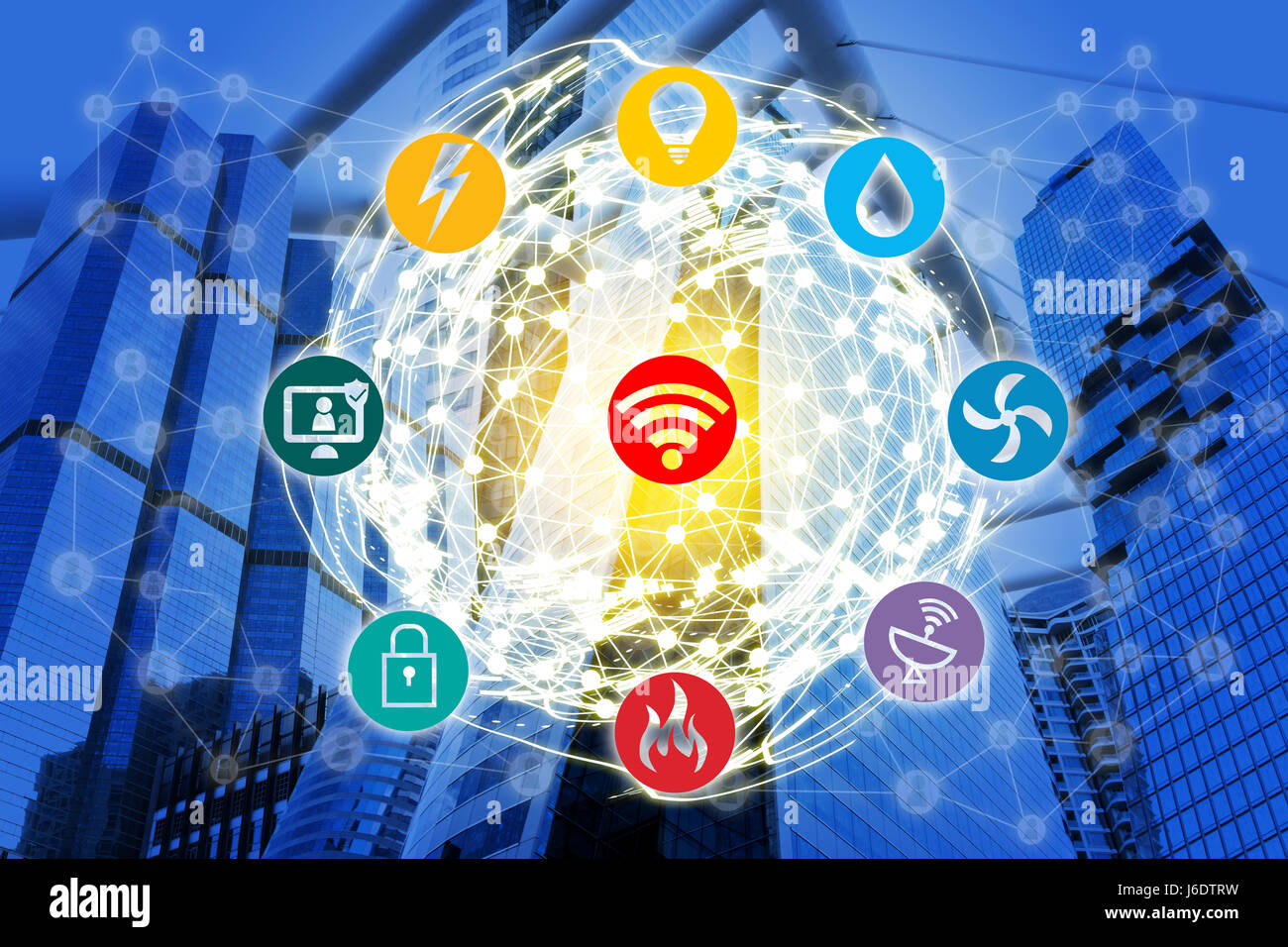 Smart Building and Internet of Things concept. Smart building management icons on office building and wireframe - Stock Image