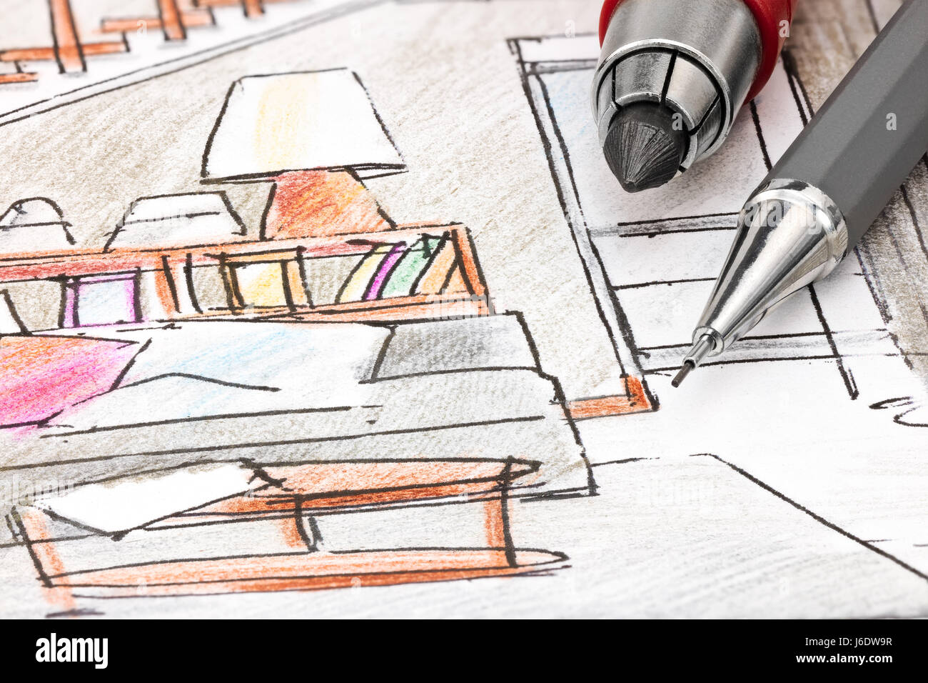 drawing tools. Designers Drawing Tools On Colored Draft Sketch Of Living Room Interior Macro View