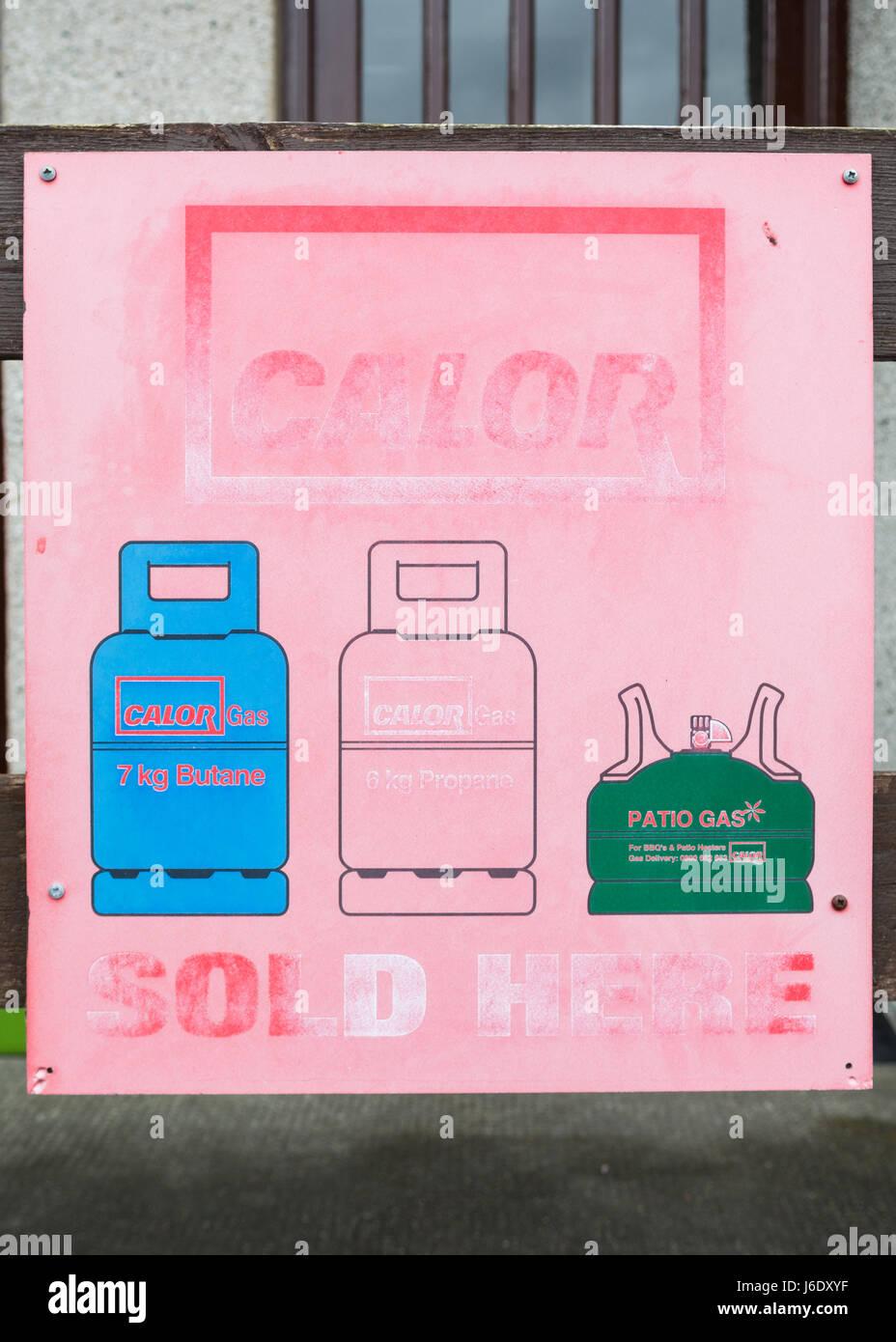 Calor Gas butane, propane, patio gas for sale sign - Stock Image