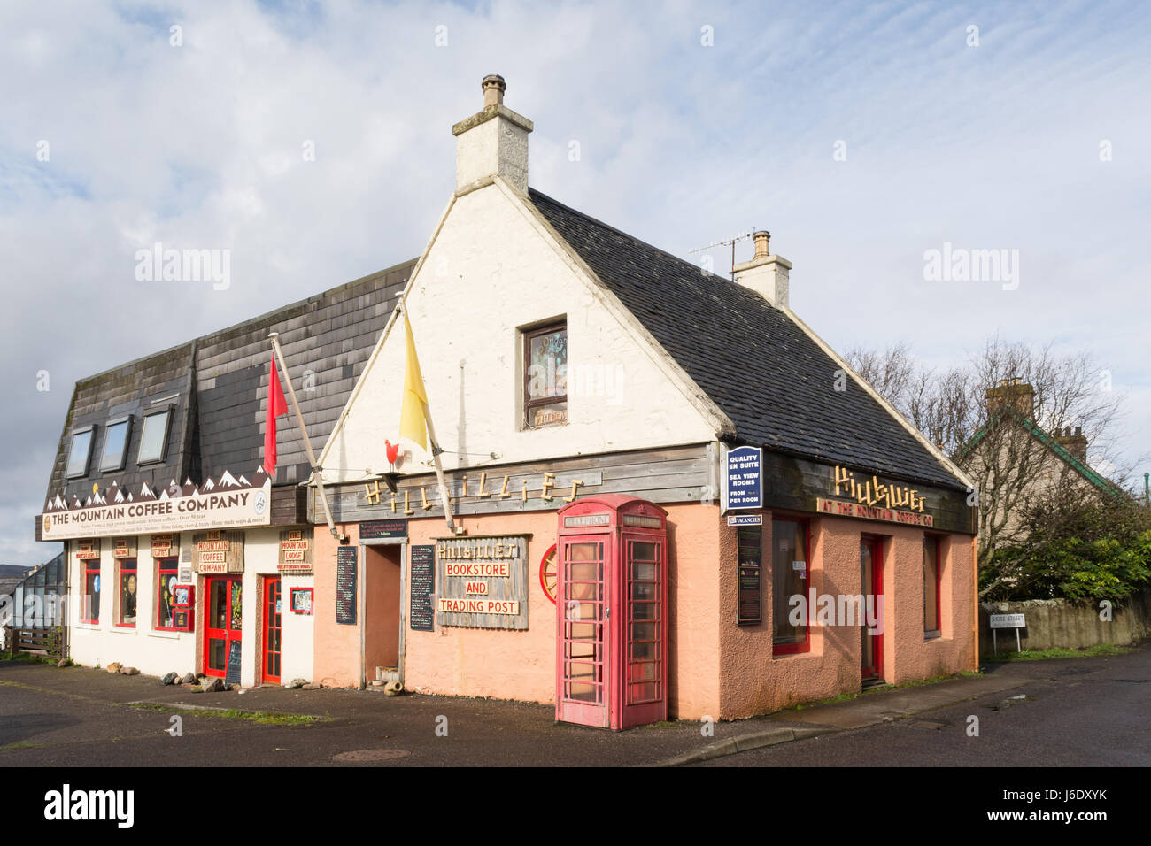 Hillibillies bookstore and Trading Post, Gairloch, Wester Ross, Scotland, UK - Stock Image
