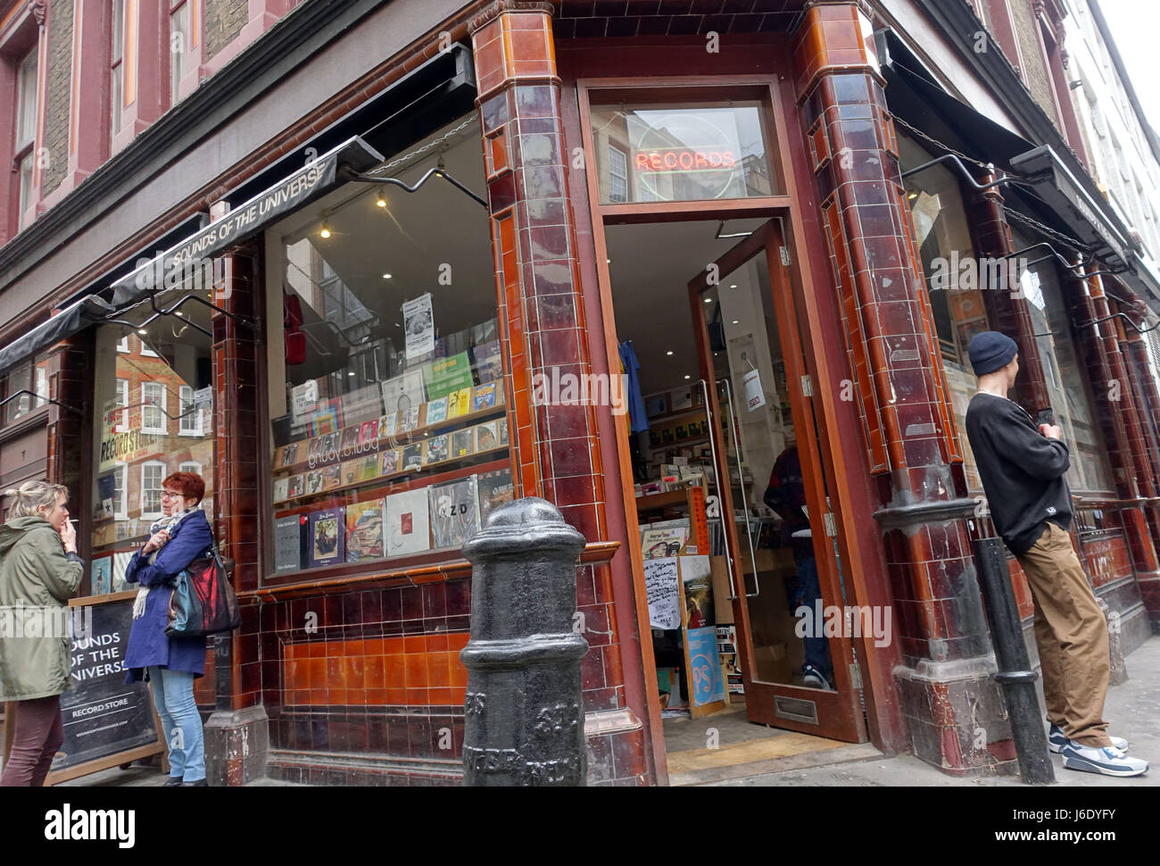 Sounds of the Universe specialist record shop in Soho, London - Stock Image