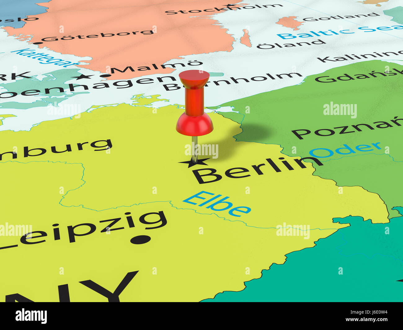 Berlin Pinned On Map Europe Stock Photos Berlin Pinned On Map