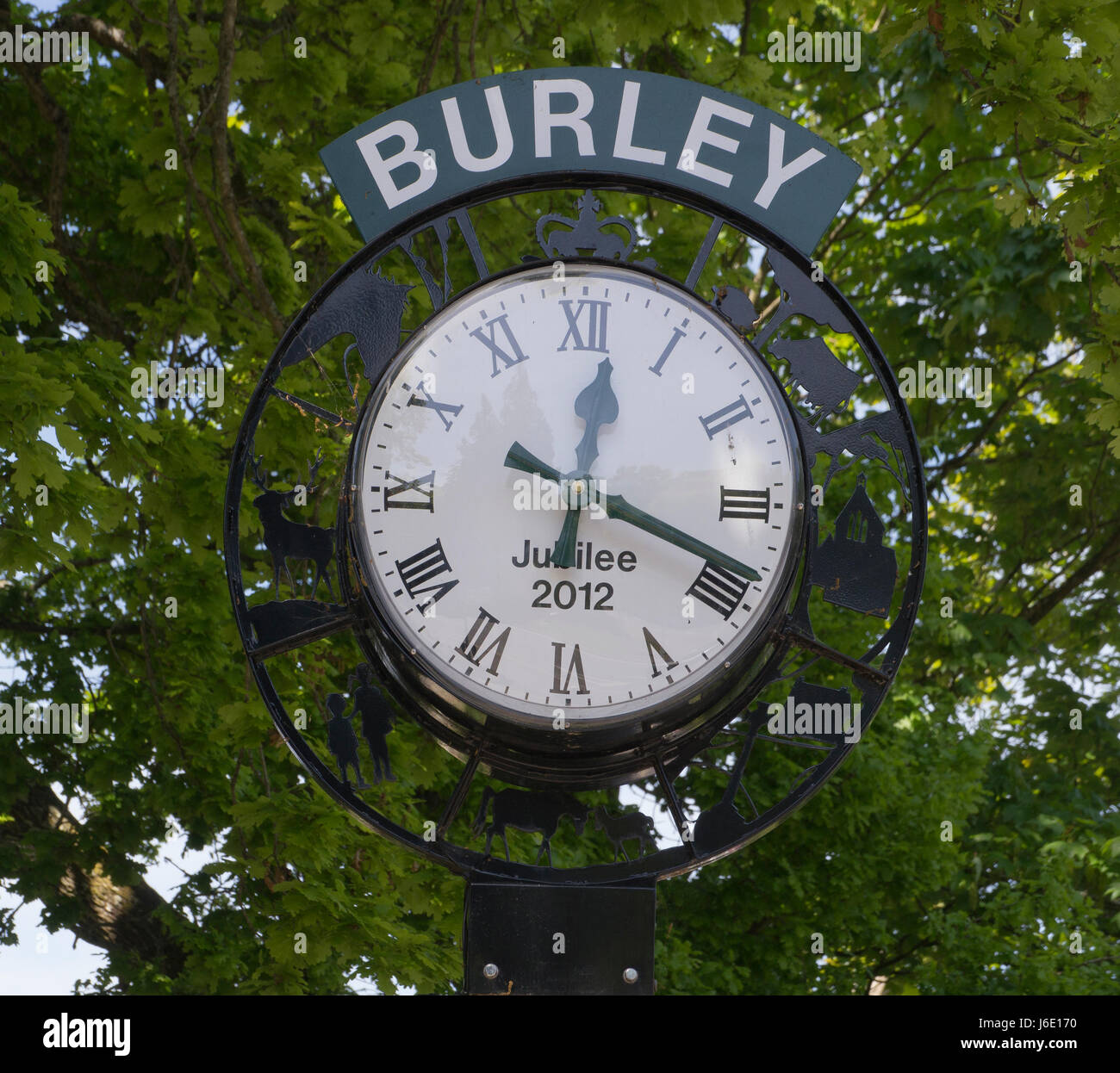 Jubilee Clock ,Burley, New Forest ,Hampshire ,England - Stock Image