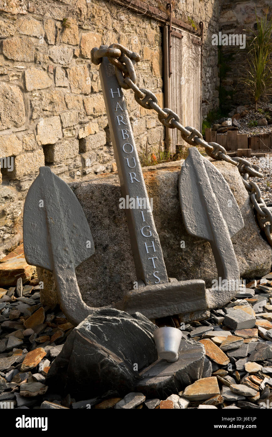 UK, Cornwall, St Austell, Charlestown, anchor sign of Harbour Lights, 'Amazing Spaces' TV programme's restored - Stock Image