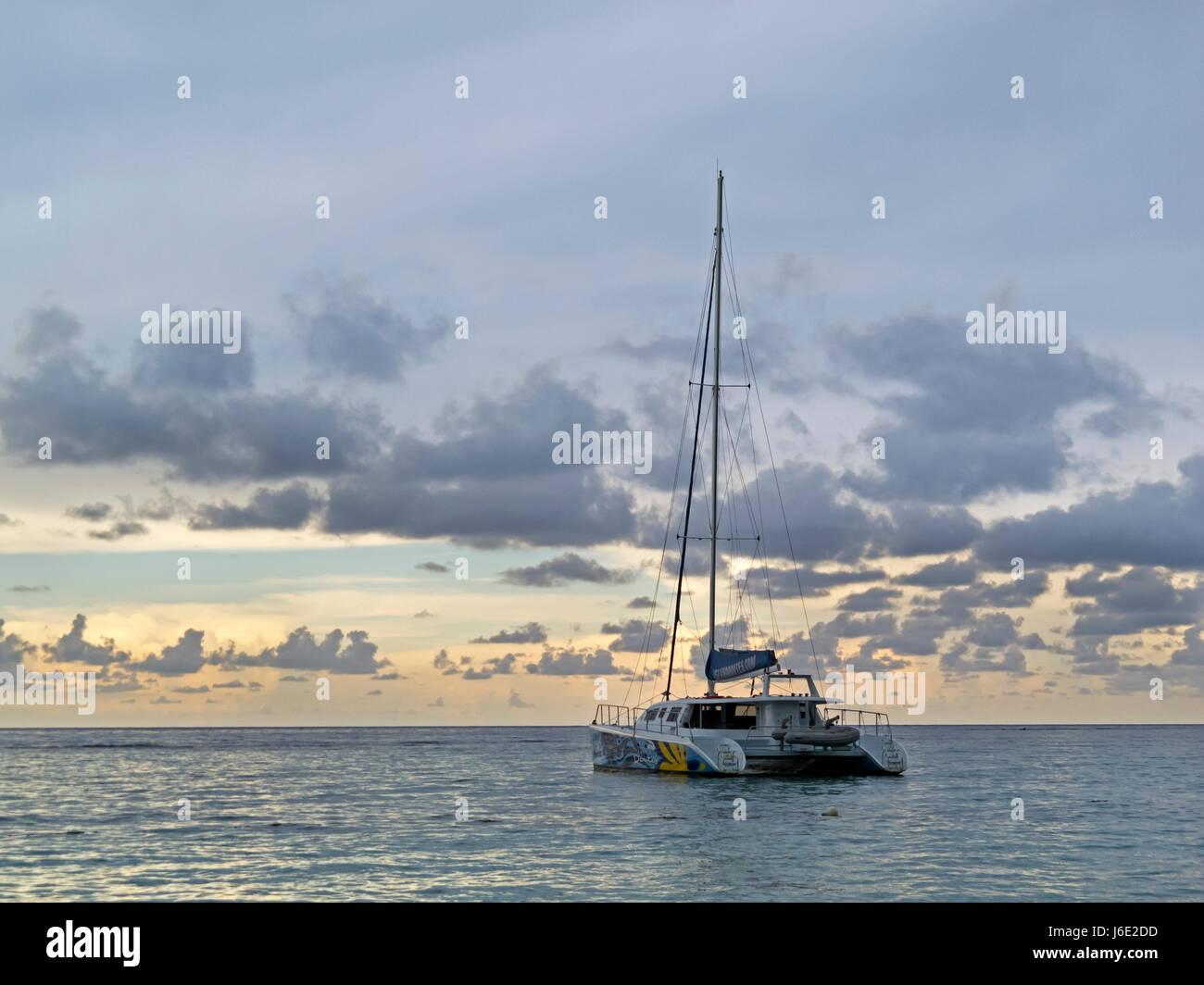 A Sailboat off the coast of Ocho Rios Jamaica - Stock Image