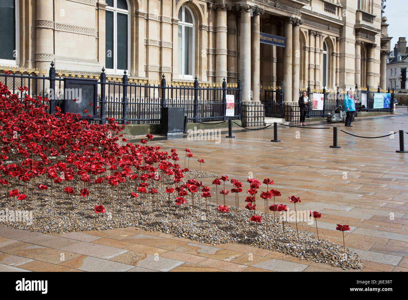 Poppies Weeping Window in Hull, photographed during the 2017 City of Culture year in Hull. Artist is Paul Cummins - Stock Image