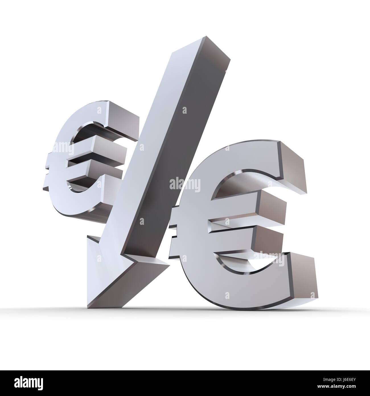 euro down metallic sign percent decrease arrow pictogram symbol pictograph - Stock Image