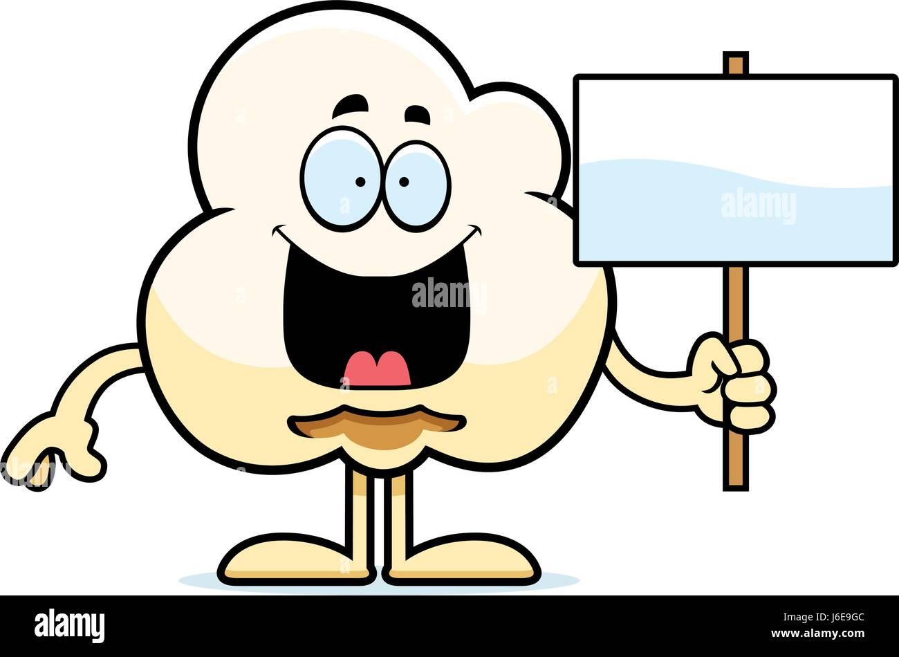 a cartoon illustration of a popcorn kernel holding a sign stock rh alamy com popcorn kernel clipart black and white popcorn kernel clip art free