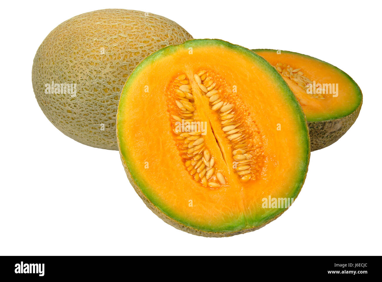 food aliment health isolated fruit diet melon half fresh orange food aliment Stock Photo