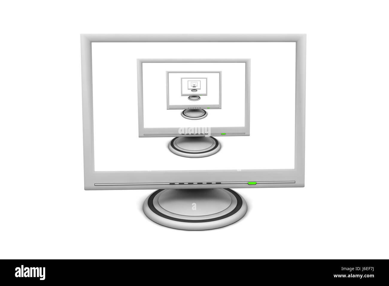 monitor screen display multiple copies front office PC computers computer - Stock Image