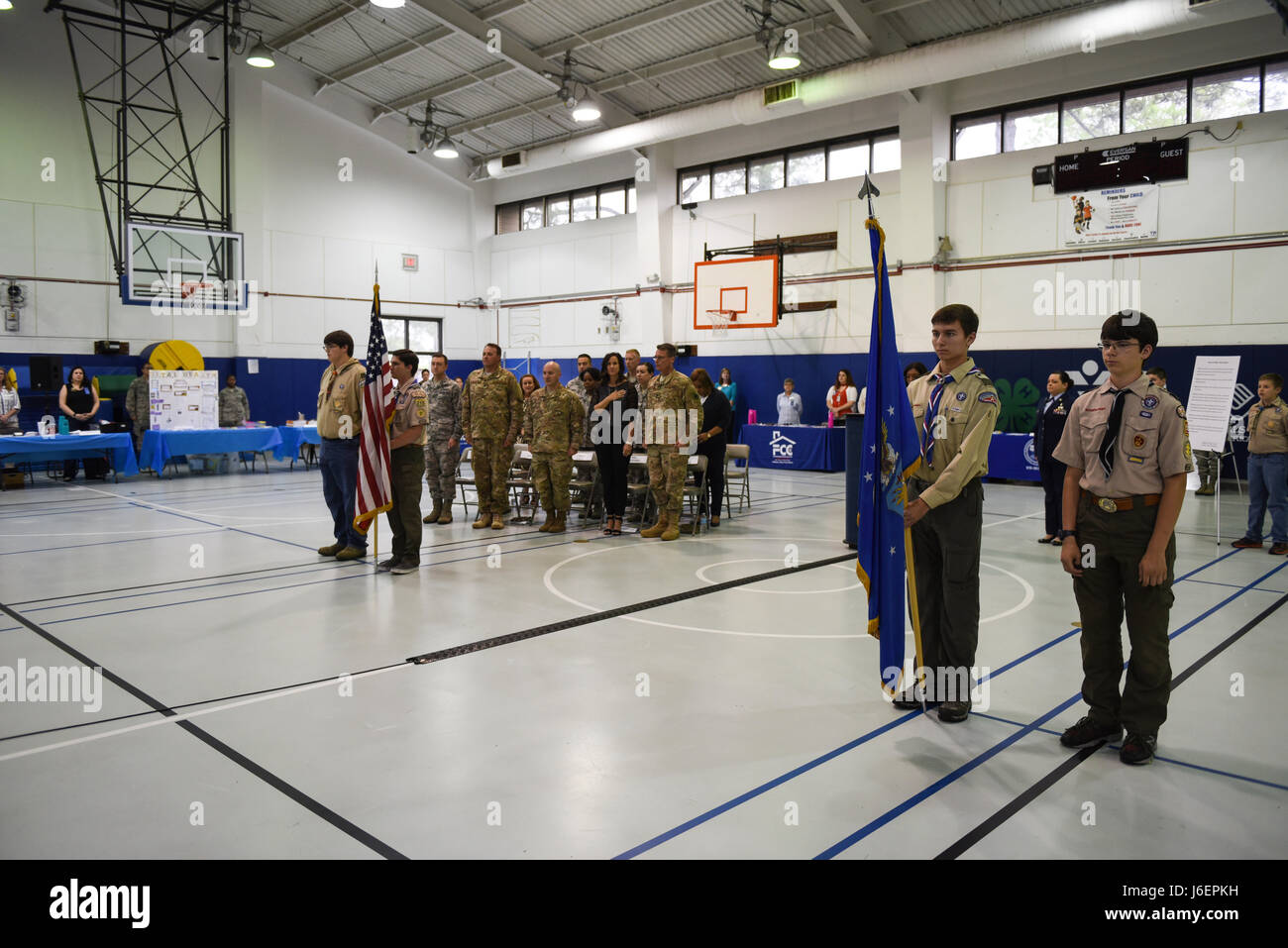 Boy Scouts of America Troop 509 present the colors during
