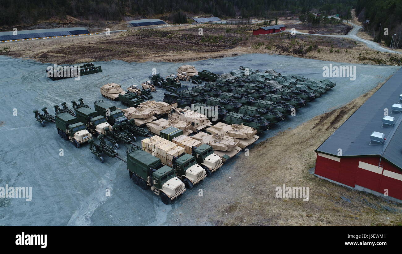 The Marine Corps drew approximately 500 ground combat vehicles from caves in Norway for Strategic Mobility Exercise Stock Photo