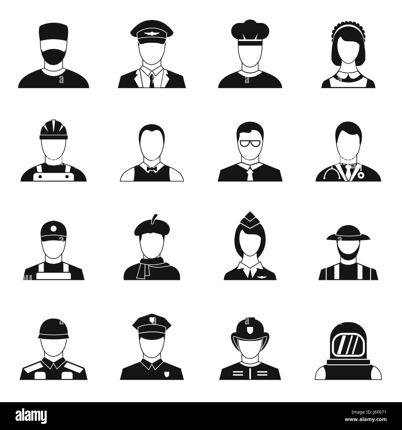 Professions icons set, simple style - Stock Image