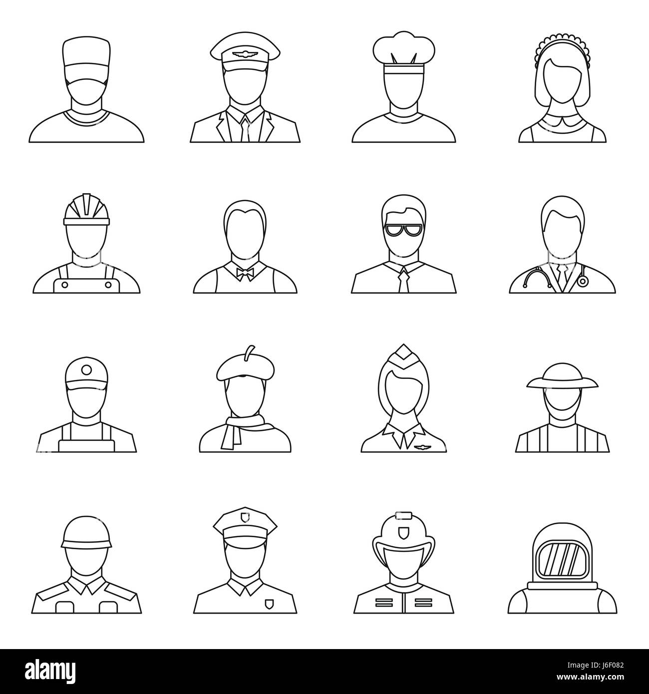 Professions icons set, outline style - Stock Image