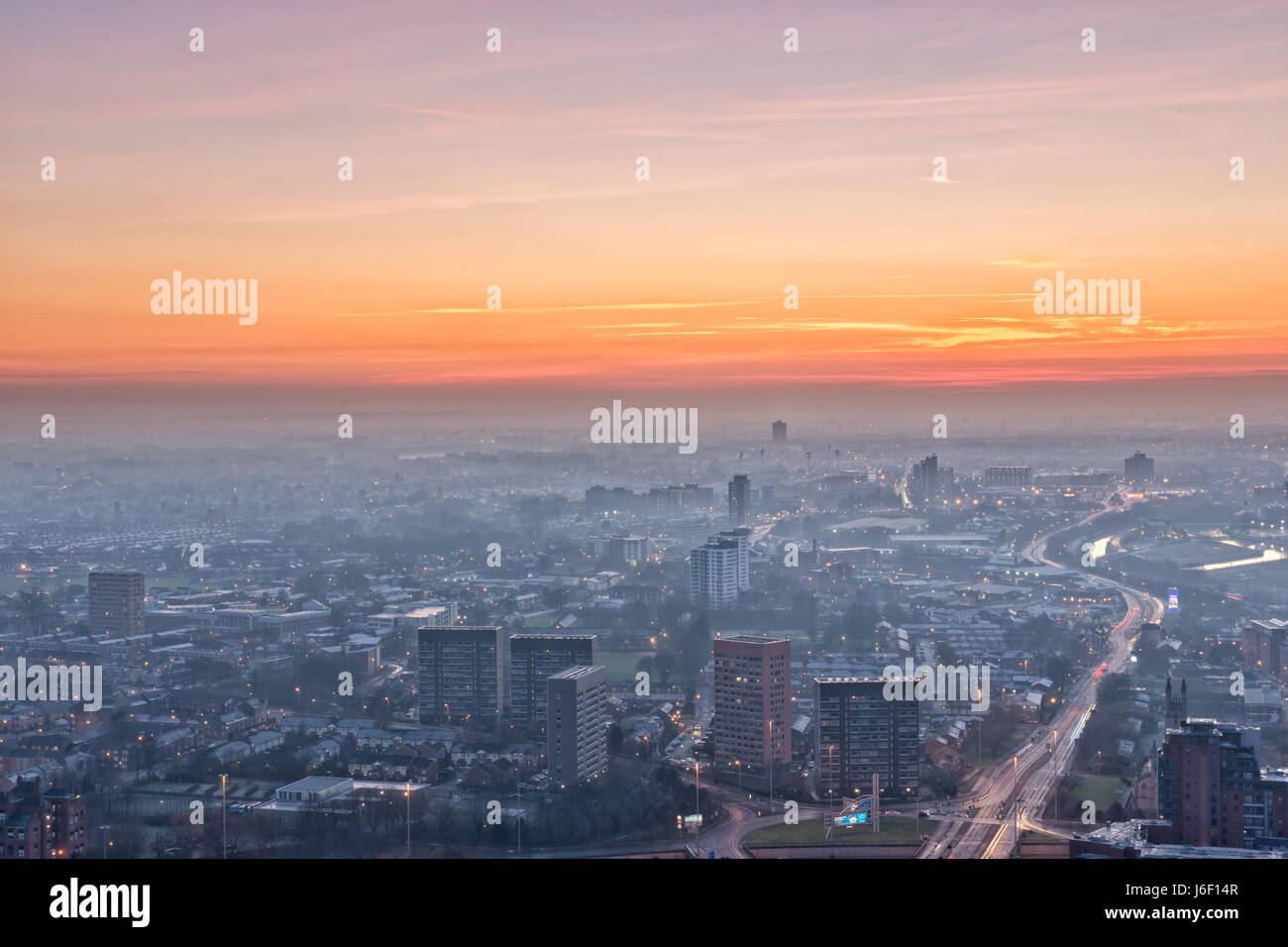 Manchester City centre sunset - Stock Image