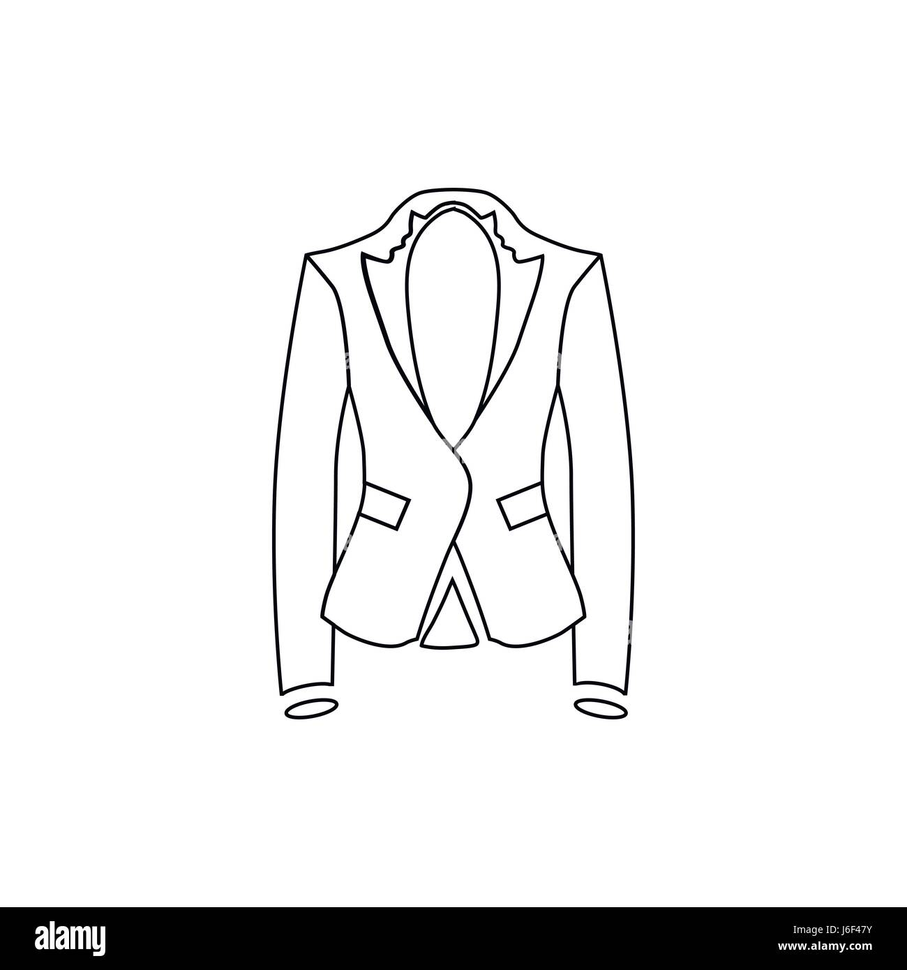 f91d0a6bed8b Woman jacket icon, outline style Stock Vector Art & Illustration ...