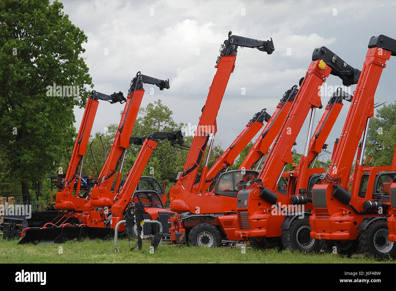 cranes stacker machinery modern modernity industry engineering cranes machines - Stock Image