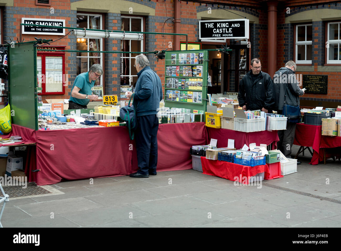 Rail enthusiast stalls at the Severn Valley Railway, Kidderminster station, UK - Stock Image