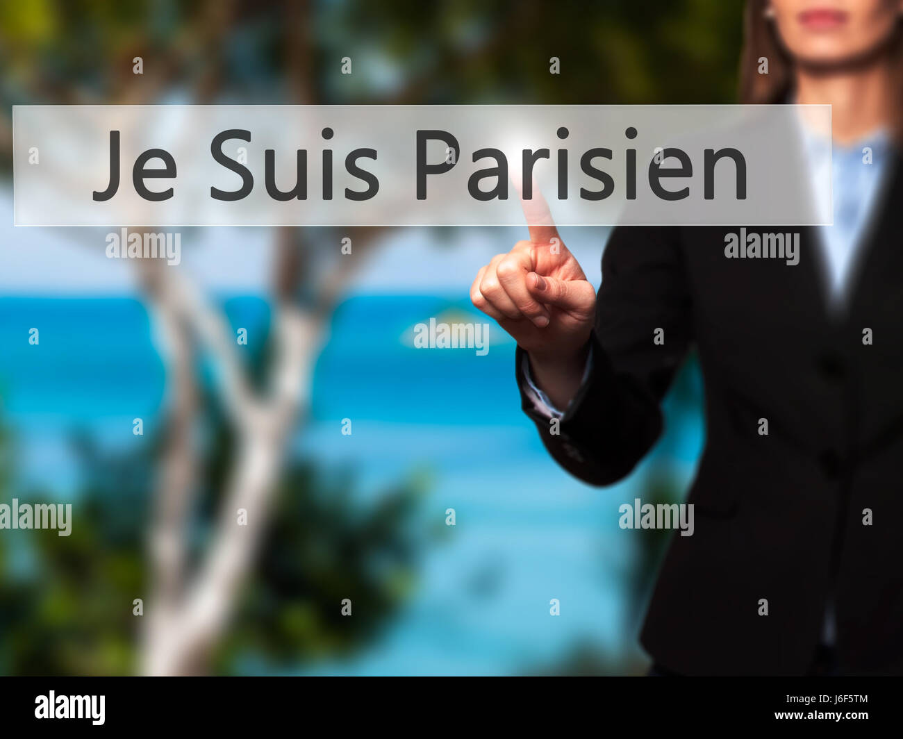 Je Suis Parisien ( I am Parisien)  - Businesswoman hand pressing button on touch screen interface. Business, technology, Stock Photo