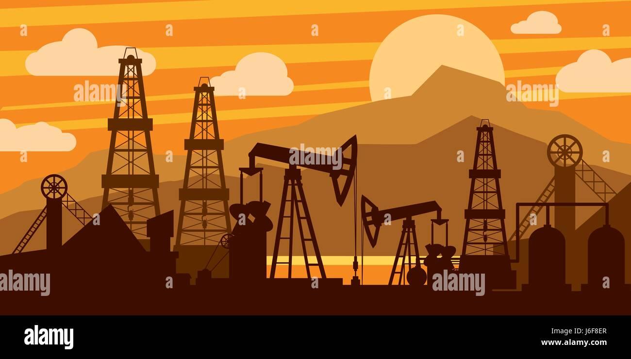 Oil platform concept Stock Vector