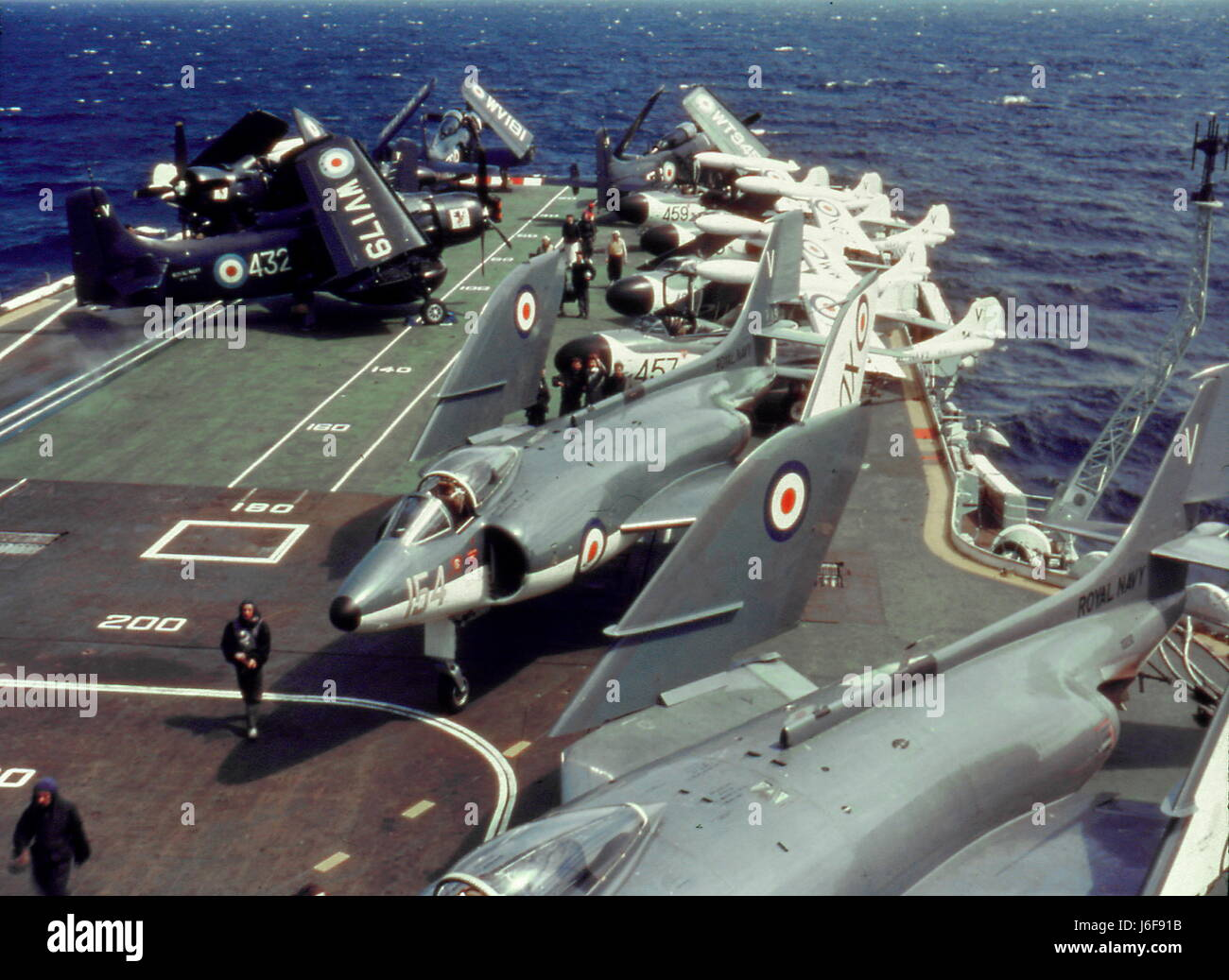 AJAXNETPHOTO. 1960S. AT SEA. - HMS VICTORIOUS. - FLIGHT DECK. CIRCA EARLY 1960S ship scrapped in 1969.  PHOTO:VIVStock Photo